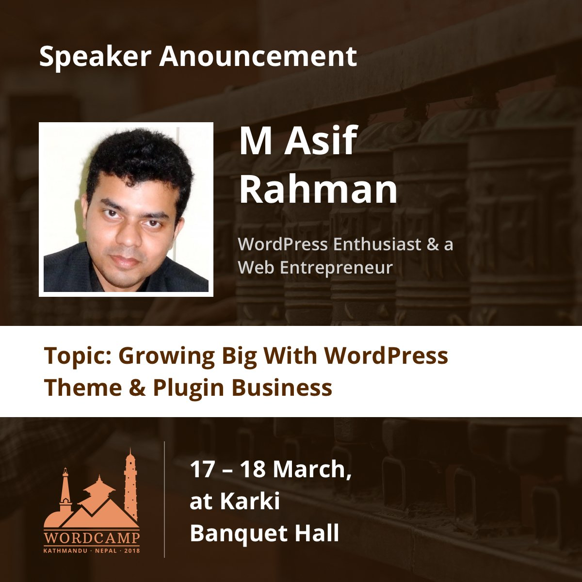 "test Twitter Media - Let's hear about our another speaker of WordCamp Kathmandu 2018, ""M Asif Rahman"" in his own words.  I am long time WordPress Enthusiast, Serial Entrepreneur and Tech Evangelist. I invest and love to help startups... Learn More about him https://t.co/Bix2BnSqdj #wcktm2018 #speaker https://t.co/Od1Ih2qi6a"
