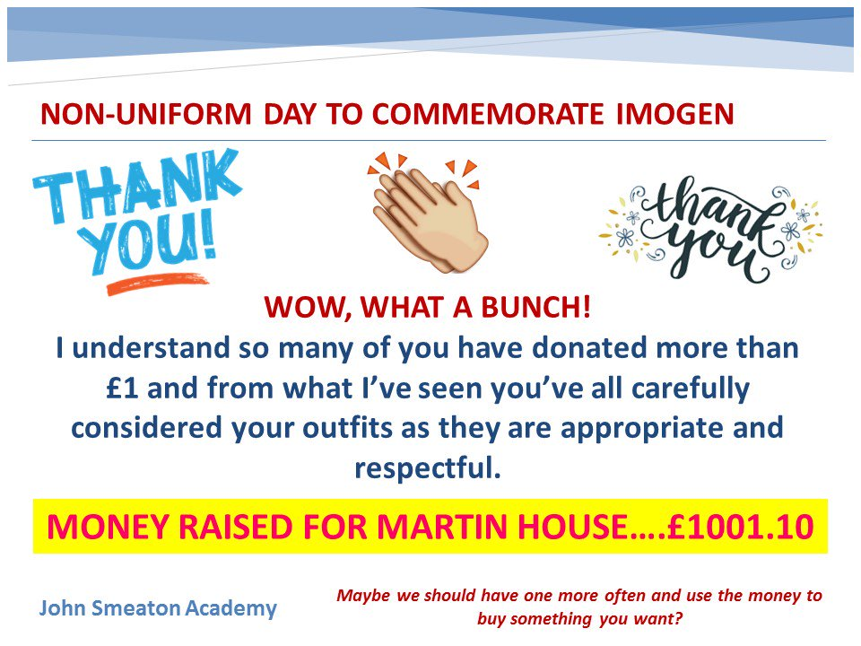 The final count for JSA non-uniform day drumroll please... £1001.10 @MartinHouseCH - Thank you for all your support