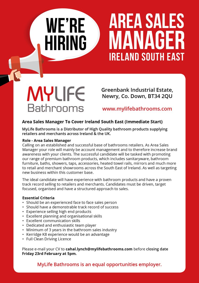 if you think you would be suitable for this position then e mail your cv to cahallynchmylifebathroomscom before closing date friday 23rd february at