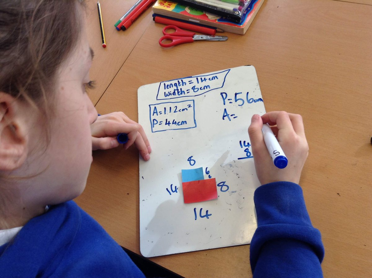 Year 6 have been investigating area and perimeter. They were given two identically sized rectangles and arranged them in different ways to calculate the area and perimeter of the new shape. #maths #reasoning #garethmetcalfe