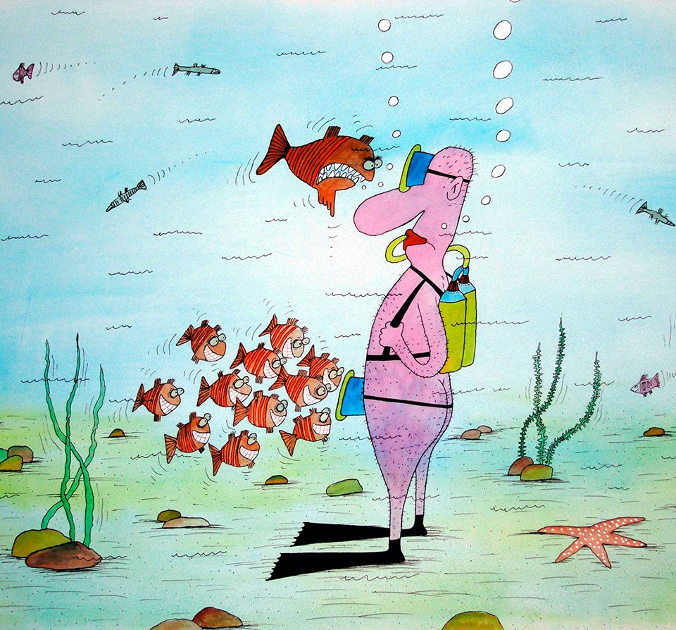 Смешные картинки про подводную охоту