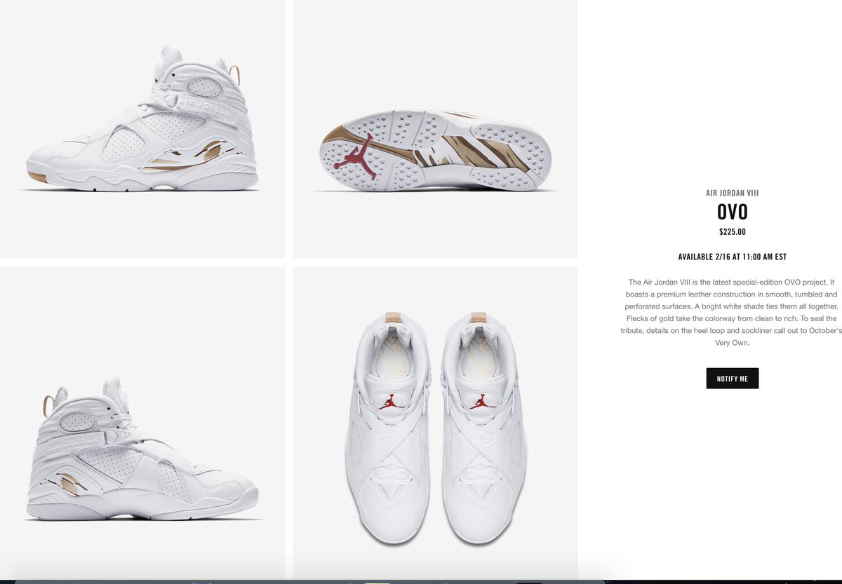 b2a92e90fbe discount code for sole links on twitter ovo x air jordan 8 white releasing  on nike