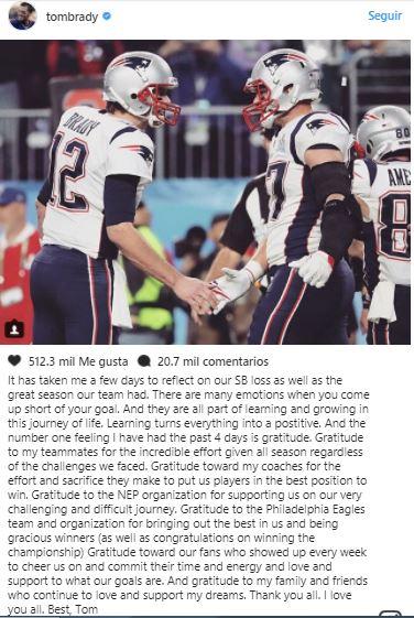 Brady escribe sentido mensaje en 'Instagram' para agradecer lo vivido en el 'SuperBowl'