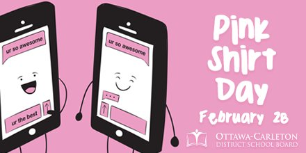 Image result for pink shirt day 2018 ocdsb
