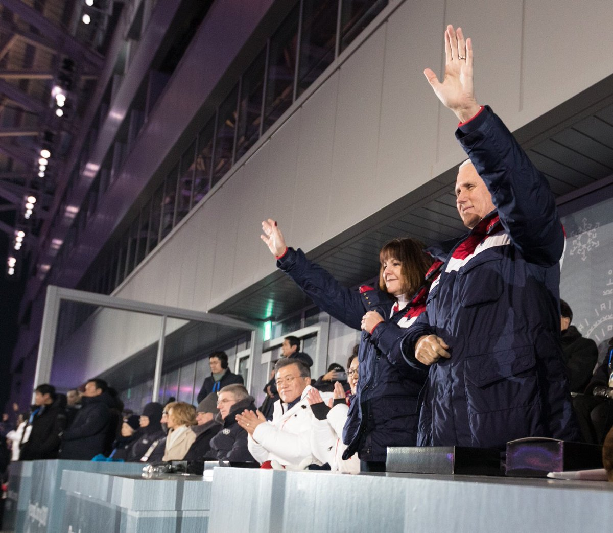An incredible honor for Karen and me to lead the U.S. Delegation at the @Pyeongchang2018 Winter Olympic Games. The Opening Ceremony was extraordinary, and we wish ALL THE BEST for our @TeamUSA athletes. #TeamUSA #VPinAsia