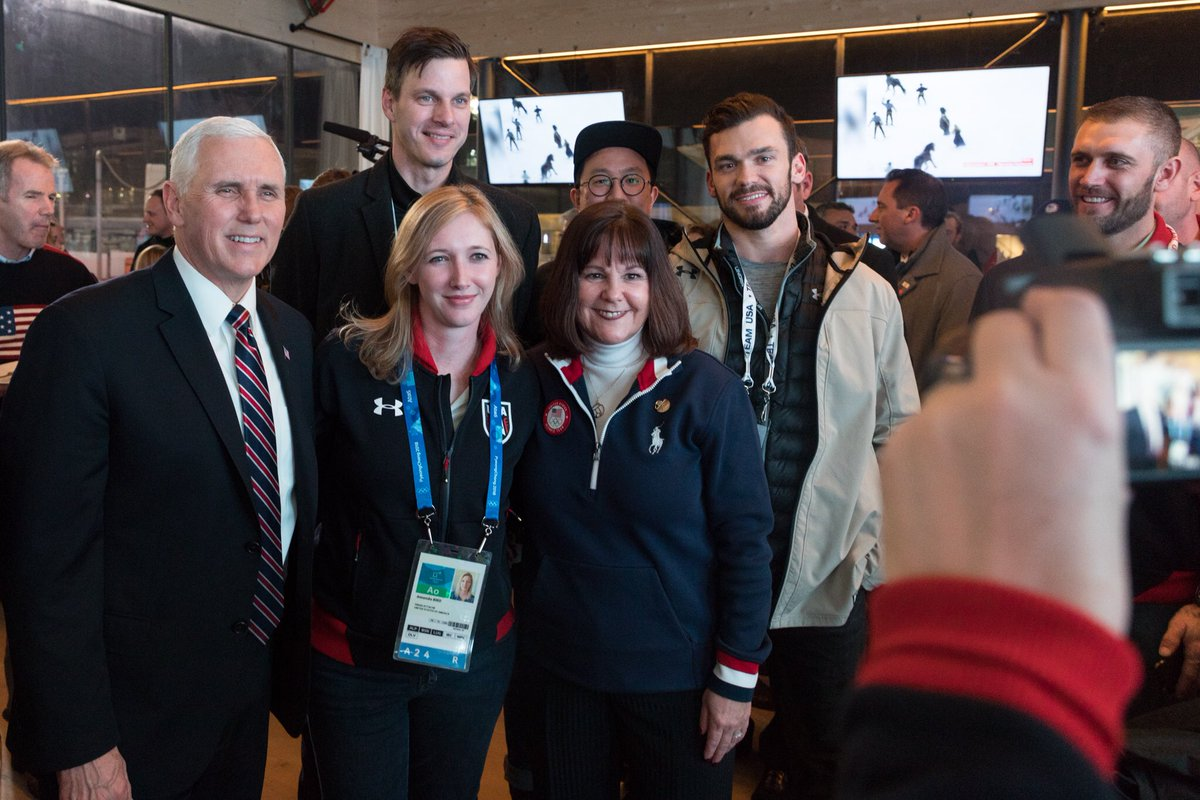 Before the Opening Ceremony, Karen & I and the entire Presidential Delegation visited the USA House and wished all of our incredible @TeamUSA athletes GOOD LUCK in the upcoming Olympic Games. GO #TEAMUSA! #VPinAsia
