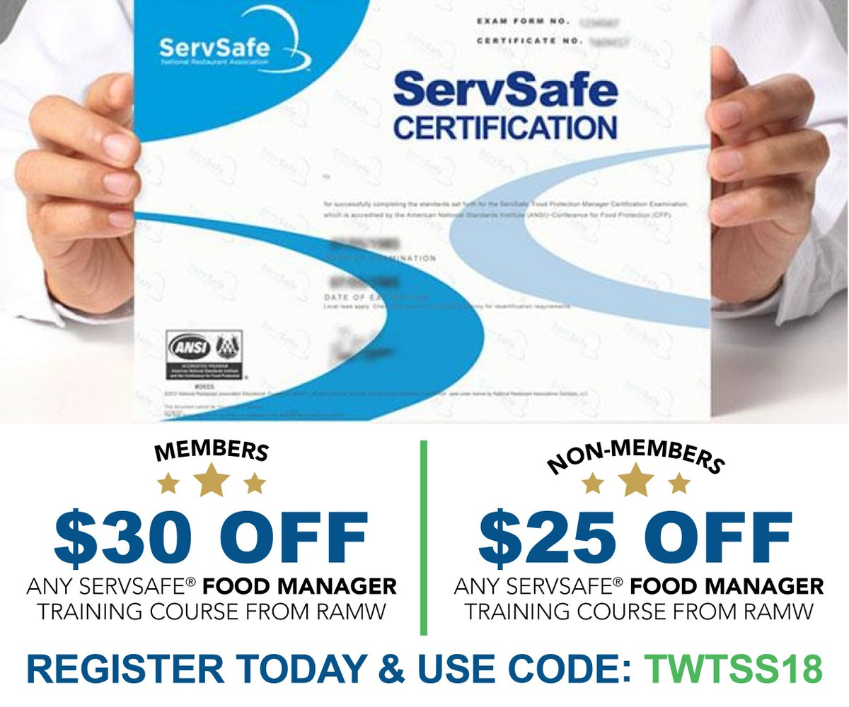 The rammys rammyawards twitter with their servsafe certifications receive a discount on food manager courses when you use code twtss18 view upcoming classes register today xflitez Image collections