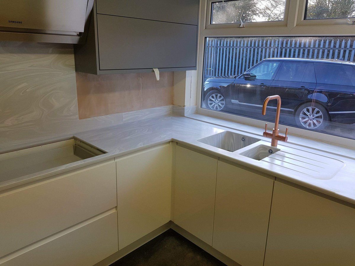 Sheffield solid surfaces snow white krion worktops R s design bathroom specialist ltd castleford