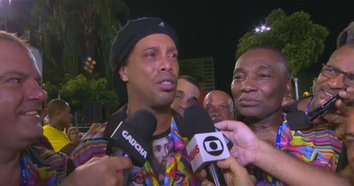 VÍDEO: Ronaldinho Gaúcho vai à Sapucaí para o desfile da Estácio de Sá: 'Torço e sofro' https://t.co/6gkTUj31n5