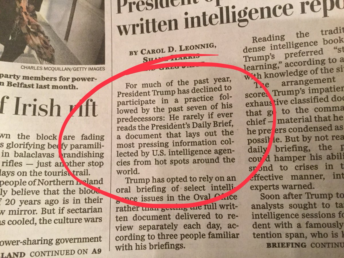 On Page 1, the @washingtonpost reports that the president doesn't read his daily intel brief. On Page 4, it reports that his son-in-law, who hasn't been able to get a permanent clearance, does.
