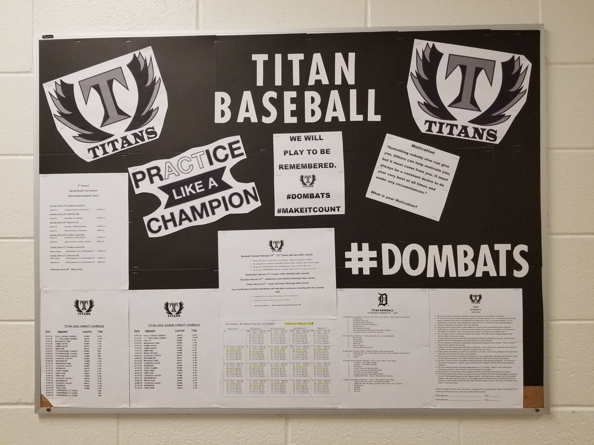 Fresh look and information up on our cork board. All relevant information for our upcoming spring tryout and season. Check it out! #dombats #communicate #corkboard #information #prACTicelikeachampion<br>http://pic.twitter.com/YZqfqhsCWU