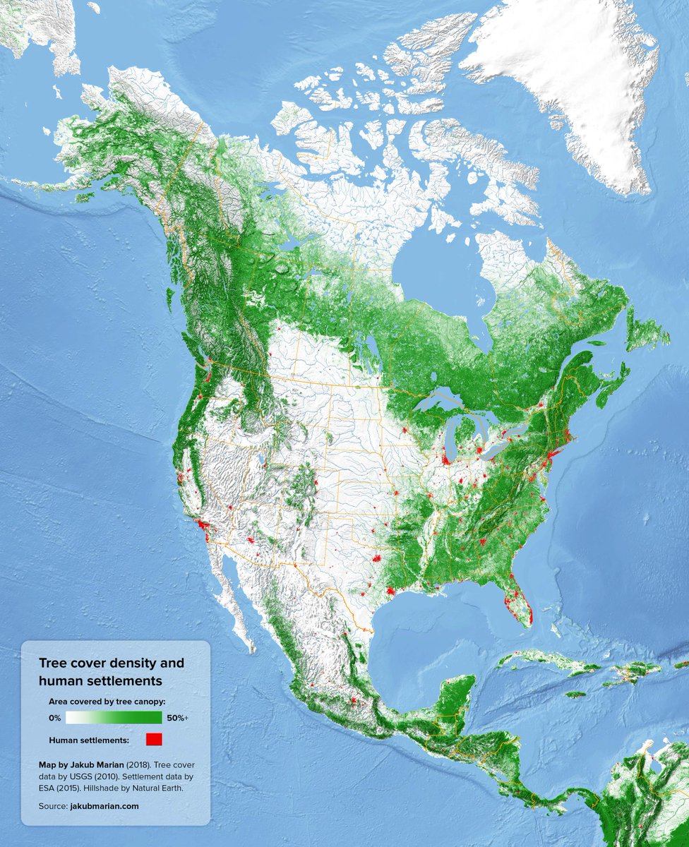 Onlmaps on twitter tree cover and urban areas of north america onlmaps on twitter tree cover and urban areas of north america map maps gumiabroncs Image collections
