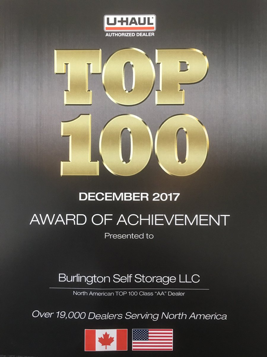 Delightful Congratulations To Jana And Steve @bssproperties Burlington Self Storage Of  Derry For Becoming A U Haul Top 100 Dealer For 2017!