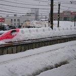 本物が埋もれてんのかと思ったわ雪で忠実に作られている新幹線がステキ!