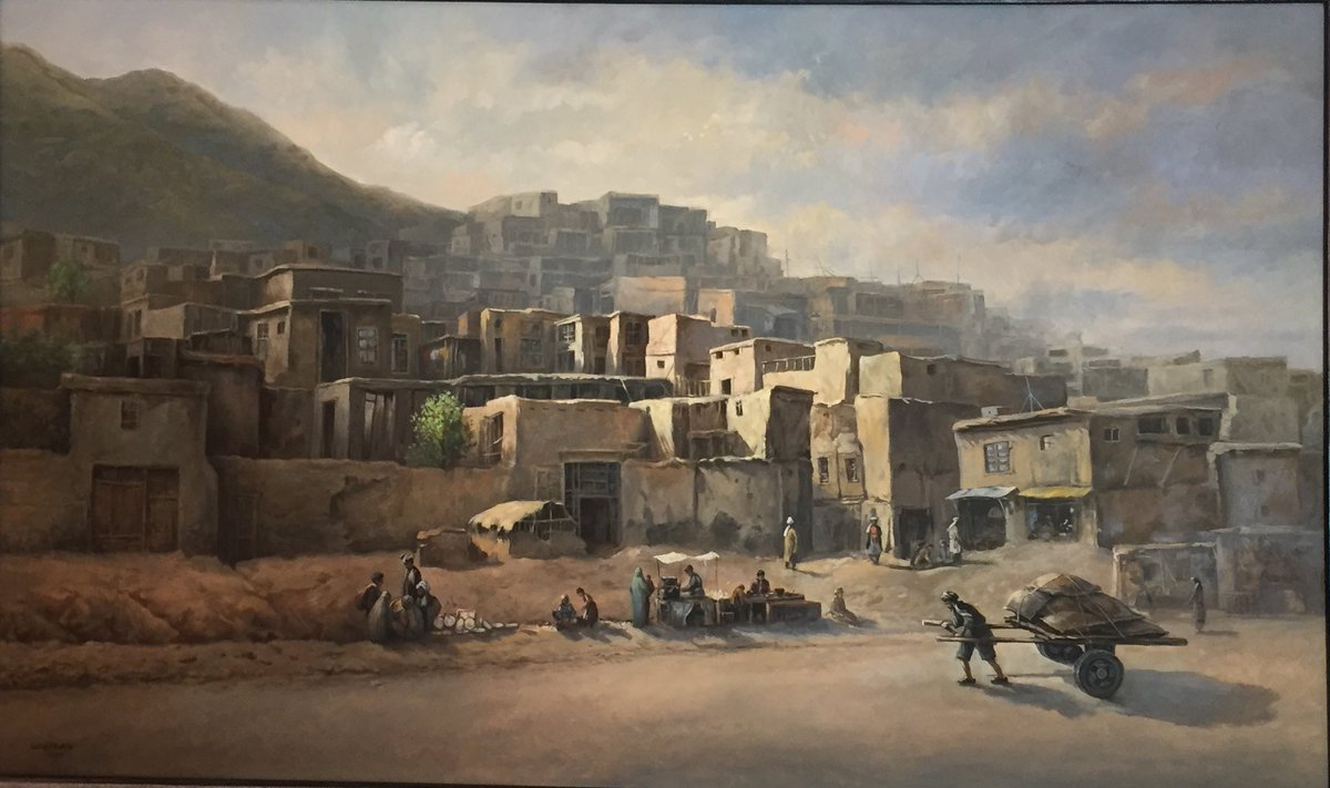 Old #Kabul City, a reminder of my sweet childhood days. The city grew over 3500 years between Shirdarwaza Mountain & Kabul River. Its typical architecture is defined by flat roofs, rammed earth/mud brick walls & attached courtyard houses. Painting by Siddiq Jakfar, 2005. Afg MFA.