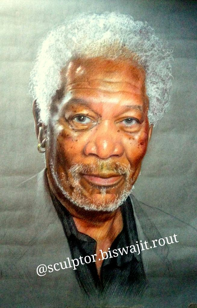 Morganfreeman pencil sketch by artist from bhubaneswar odisha indiapic twitter com jyzsqswxmk
