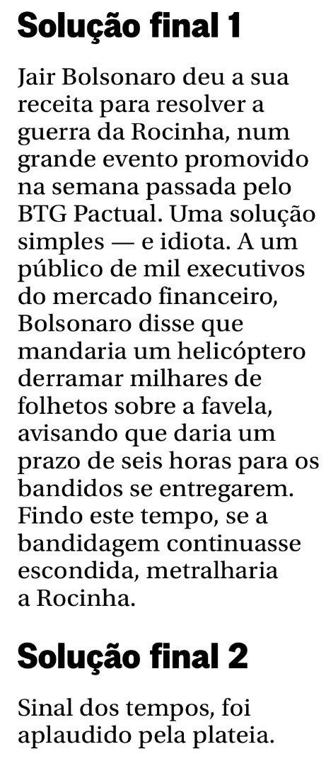 Expectativa: Bolsonaro é o cara da segurança pública, terá propostas para acabar com a violência.  Realidade: um helicóptero joga folhetos dizendo pros bandidos se entregarem em até 6 horas. Realidade mais dura ainda: foi aplaudido de pé por uma plateia de dementes. #vaidarcerto