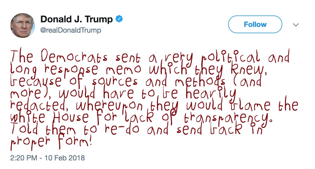 My frequent reminder to install this Chrome extension that renders #Trump's tweets in a child's crayon scrawl. Makes this whole Bad Timeline existence more tolerable