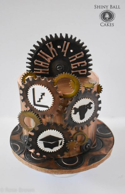 #Steampunk Awesome of the Day: Hat #Cake Covered with Gears by @shiny_ball #SamaCake