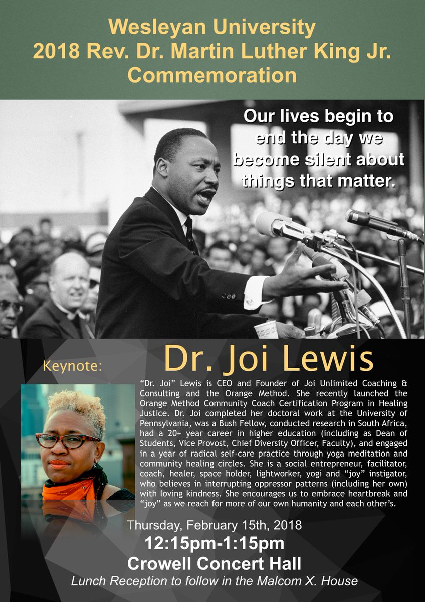 """test Twitter Media - RT @Wes_engage: This year's @wesleyan_u MLK Commemoration will feature Dr. Joi Lewis of @joiunlimited : """"From Hollering to Healing: Black to the Future."""" 2/15, 12:15, Crowell #BlackHistoryMonth https://t.co/wouA3CADH3"""