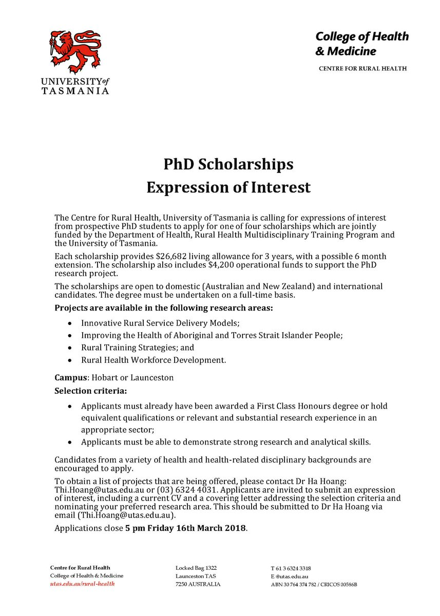 Sportutas on twitter phd scholarships expression of interest the sportutas on twitter phd scholarships expression of interest the centre for rural health applications close 5 pm friday 16th march 2018 thecheapjerseys Images