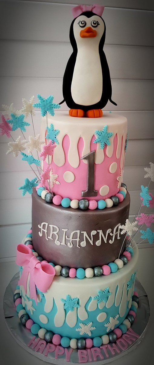 Happy 1st Birthday Arianna First Cake Penguin 3tier Three Girly Silver Winter Snow Pink Blue Party Happytimes Memories