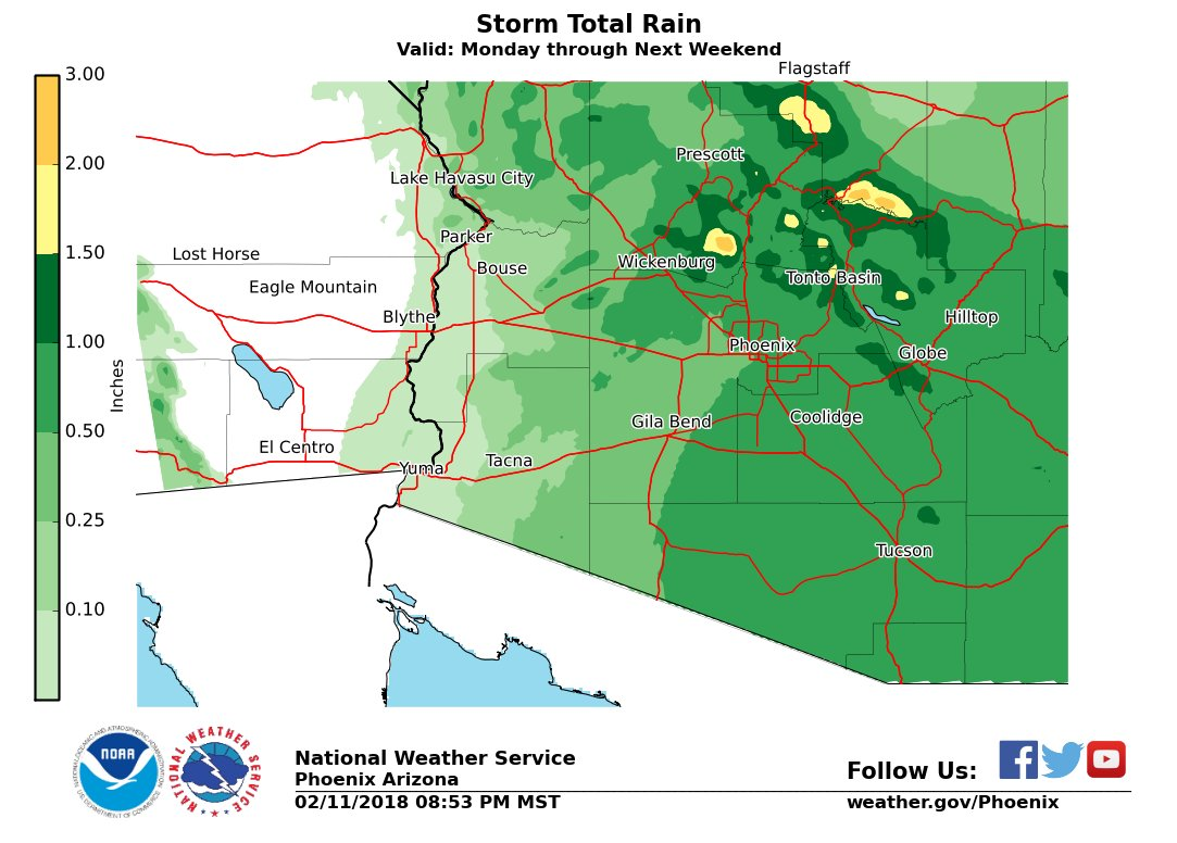 Map Of Eastern Arizona.Nws Phoenix On Twitter Here Is A Map Showing The Most Likely Rain