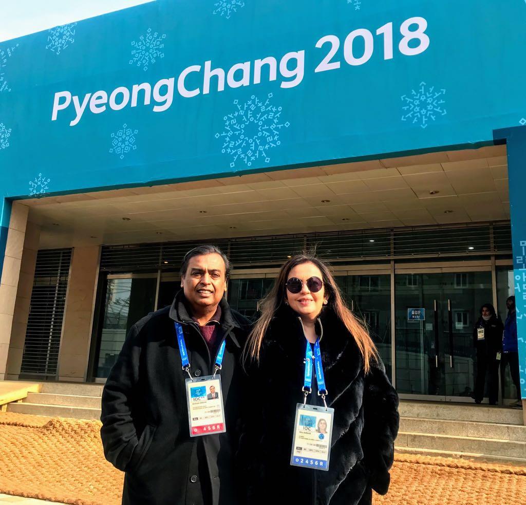 Mukesh and Nita Ambani in PyeongChang to cheer Indian team members at 2018 Winter Olympics