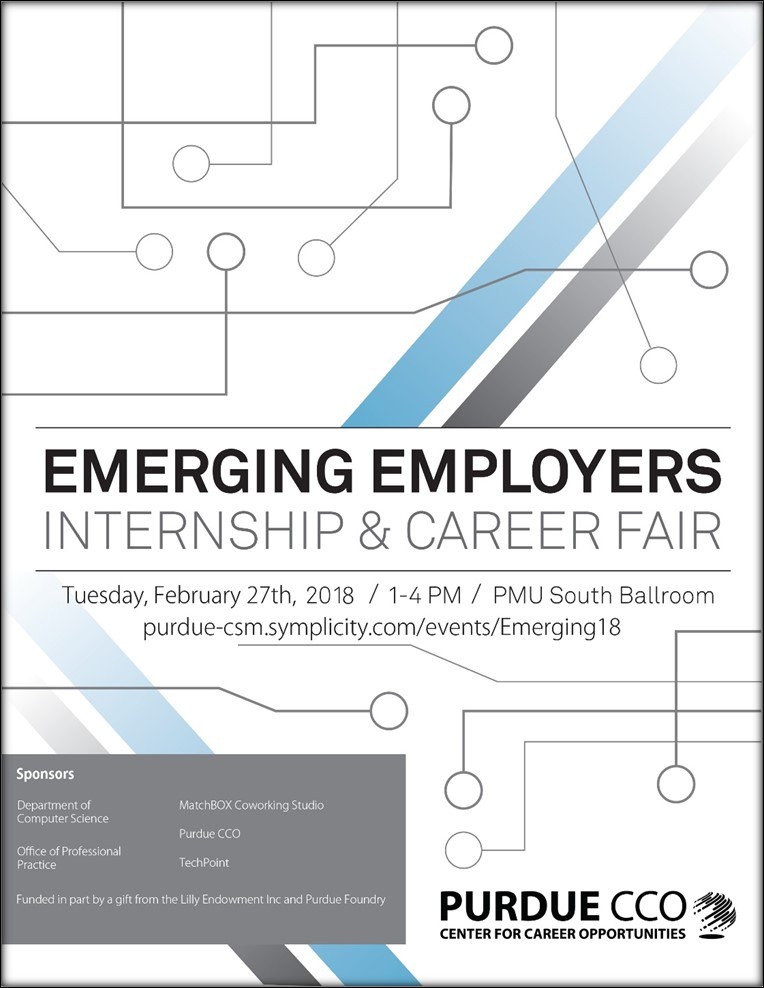 The Emerging Employer Career Fair Will Host Start Up And Second Stage  Companies Who Are Hiring Interns And Full Time Employees. Students In All  Majors Are ...  Purdue Cco Resume