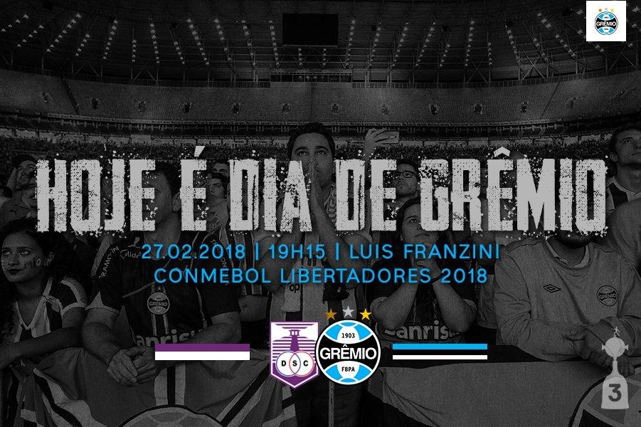 🇪🇪 HOJE É #DiaDeGrêmio 💪 🆚 Defensor Sporting 🏟️ Luis Franzini - Montevidéu ⌚️ 19h15 🏆 #Libertadores2018 #⃣ #DonosDaAmérica