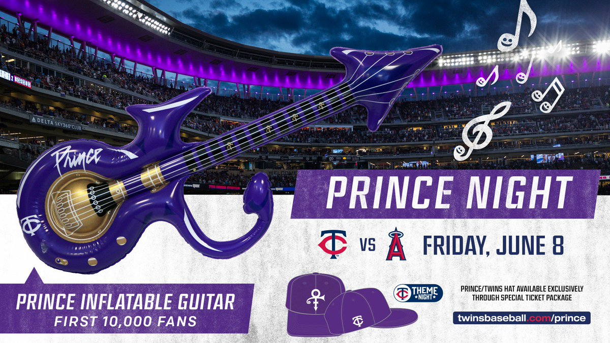 Serpan99 on twitter the minnesota twins nite takes place june the first 10000 fans will get an inflatable prince symbol guitar and when u purchase the prince buycottarizona