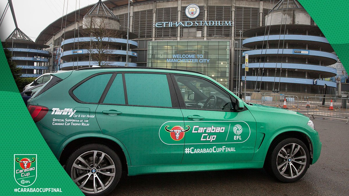 Yesterday saw @chris_kammy, @DFImpressionist and their motor make it to @wembleystadium, thanks to @thriftycars Car and Van Rental! 2️⃣3️⃣ clubs in 7️⃣ days... job done! #CarabaoCupFinal