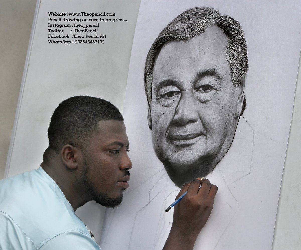 Theo pencil on twitter woooooow pencil drawing of the u n secretary general anthonioguterres in progress by artist theopencil whatsapp