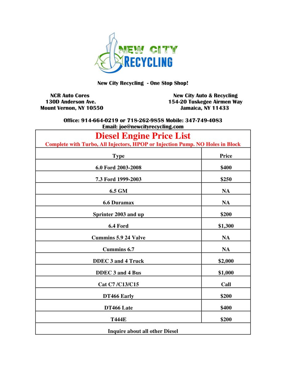 Catalytic Converter Scrap Price >> New City Recycling On Twitter Diesel Engine Price List To