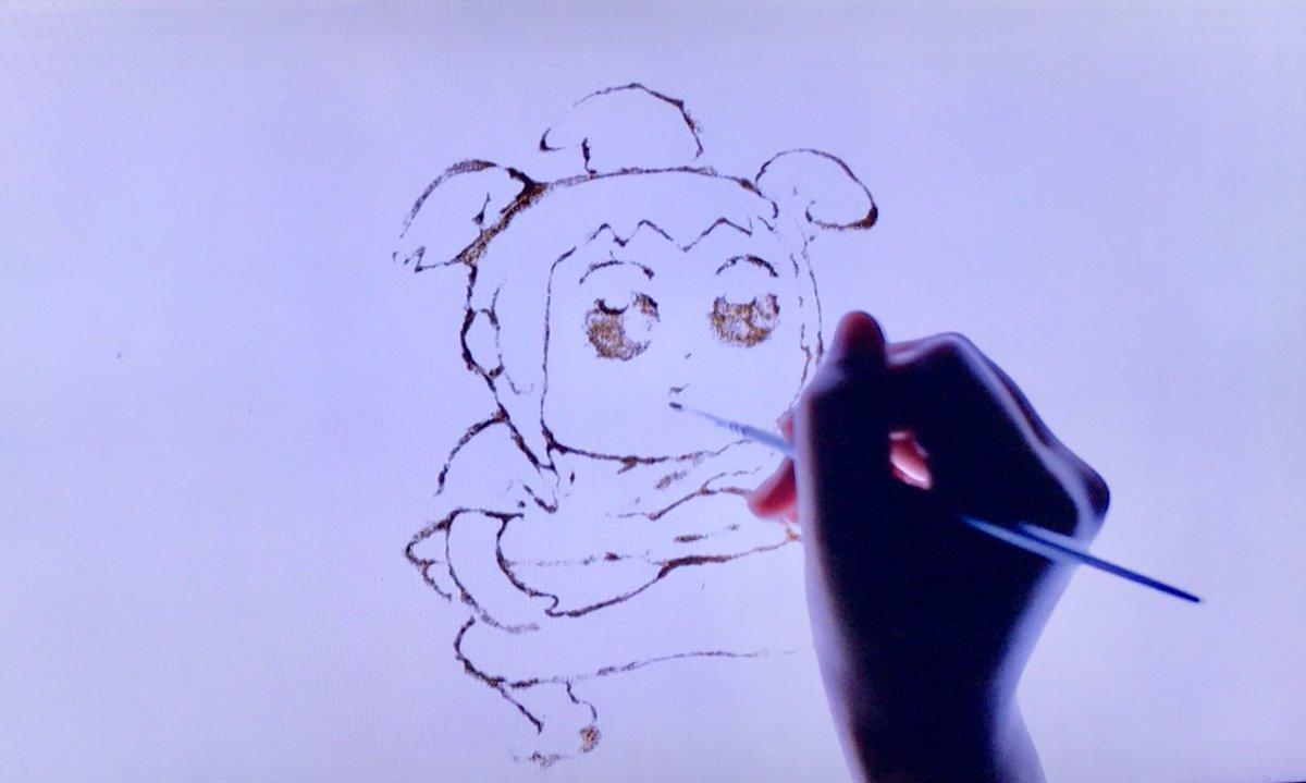 ポプテピピック8話の「ポプテピピック昔話」で砂絵アニメを担当しました。 無事、放送を見届けました〜  真面目にがんばりました!