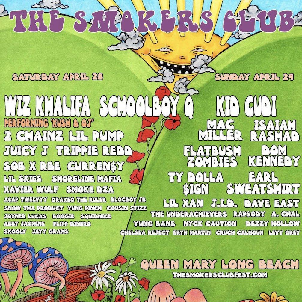 Wiz Khalifa, ScHoolboy Q, 2 Chainz, Kid Cudi & More To Headline @SmokersClubFest  👏🏾💨https://t.co/TGTluqsq8K