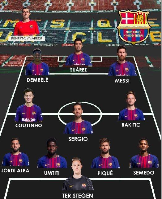 Sådan ser Barcelonas opstilling ud til det nye derby mod Girona, som fløjtes op kl. 20.45. Både Dembélé og Semedo får chancen #BarcaGirona #Barcelona #lldk
