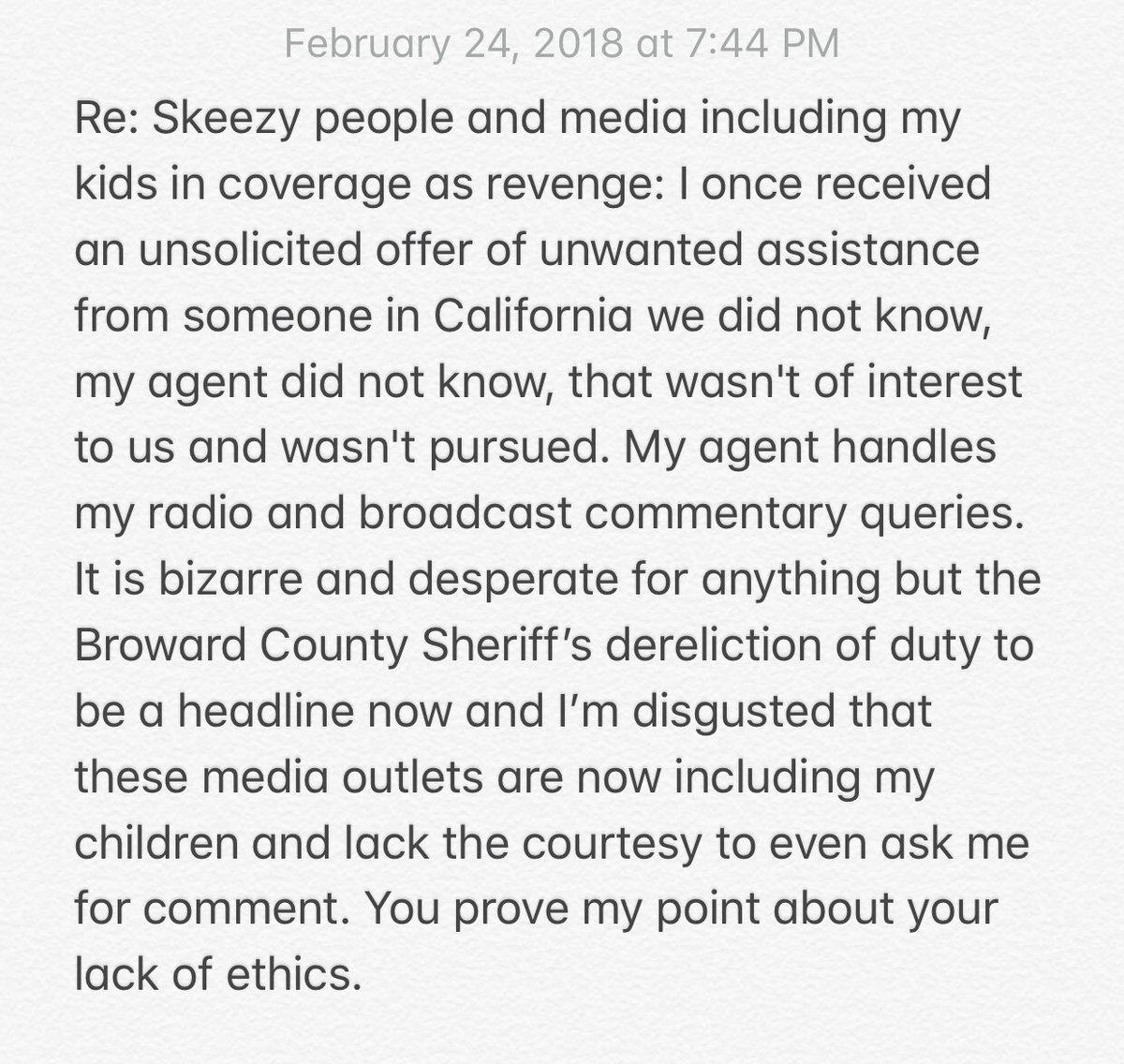 My only comment on a bit of trash I saw. I wish as much effort was focused on the Broward Sheriff's dereliction of duty.