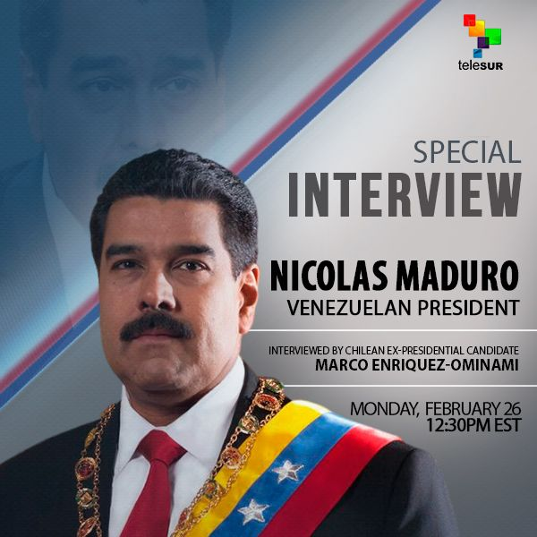 Don't miss President @NicolasMaduro special interview by @marcoporchile, only on teleSUR English. Monday 12h30 P.M. East.