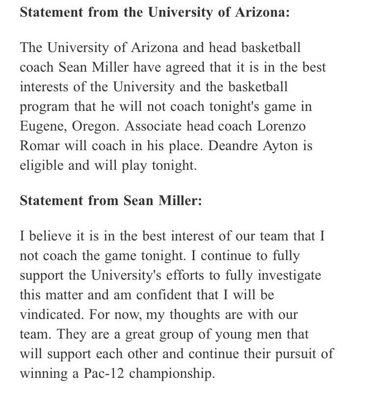 Here are the statements from Arizona abo...