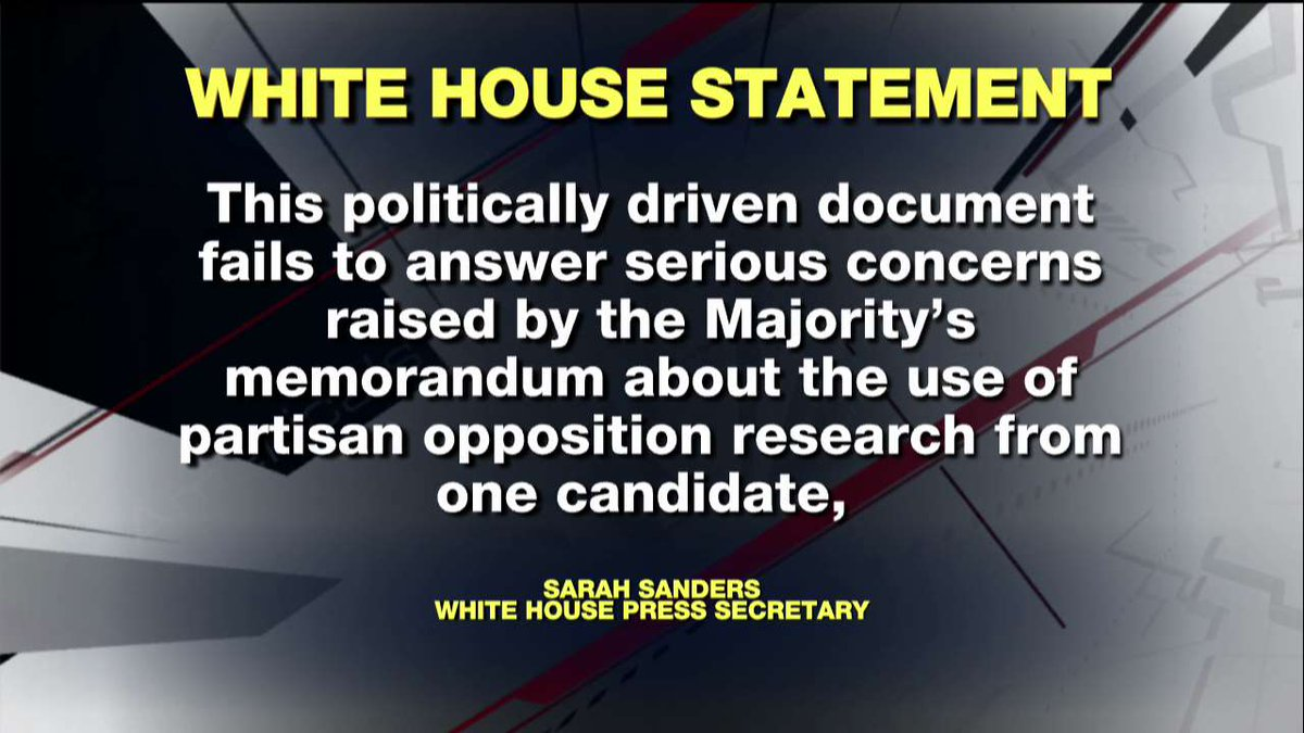 Earlier, @PressSec issued a statement about the Democratic rebuttal to the GOP FISA memo. https://t.co/1epxkUIGHV