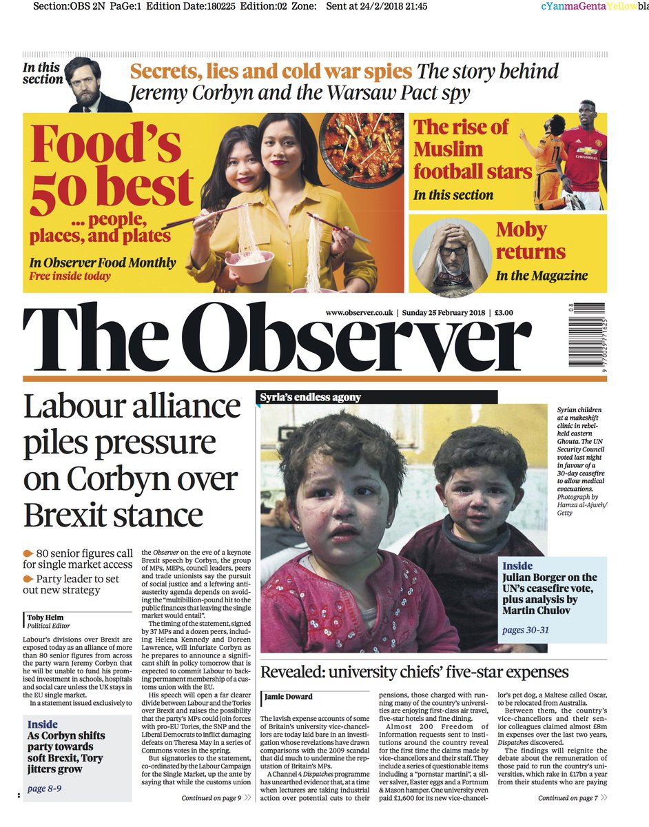 The Observer front page, Sunday 25 February 2018: Labour alliance piles pressure on Corbyn over Brexit stance