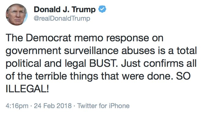 """JUST IN: President Donald Trump responds to release of heavily-redecated Democratic memo, says it """"confirms all of the terrible things that were done. SO ILLEGAL!"""" Our story: https://t.co/h9saCbAQGM #Denver7 #COPolitics"""