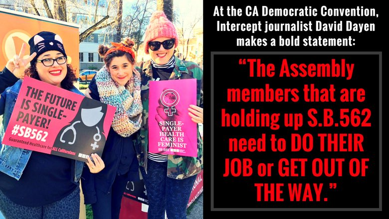 """Last year, Establishment Democrats said nurses """"couldn't be serious"""" about passing #SB562: a bill that guarantees healthcare for all, saving lives & money.  ⏰  Fast forward to : mo#CADem2018st Dem candidates emphasized their support for  !  #SinglePayerTides are turning..."""
