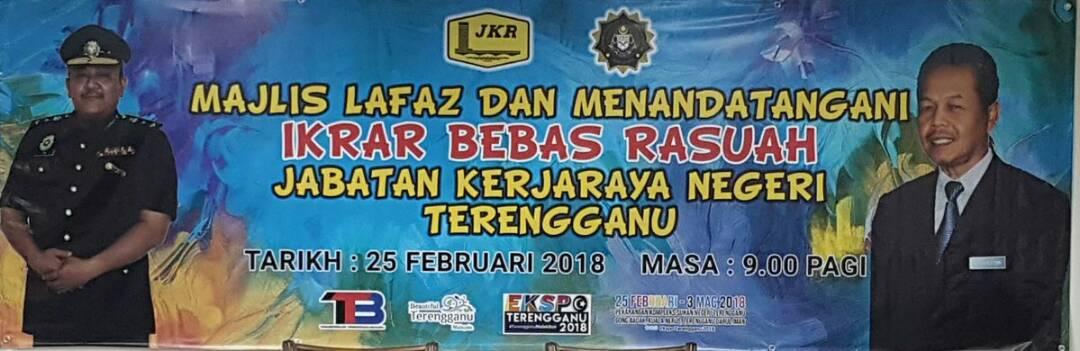 Majlis Lafaz dan Menandatangani Ikrar Bebas Rasuah JKR Terengganu @SUKTRG @YBAhmadRazif @JKRMalaysia  @RoslanMdTaha @SPRMMalaysia @irckb_chedin @yusufghani200 @jasmi99203168
