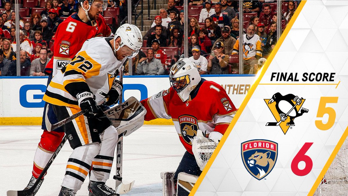The #Pens make an incredible comeback push, but ultimately fall to the Panthers on the road, 6-5.