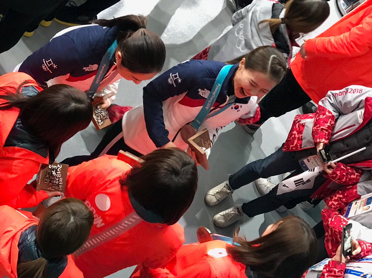"""The South Korean team, led by skip """"Annie,"""" leaves the stadium. Today the team members will get their phones back - and learn that they've become global celebrities."""
