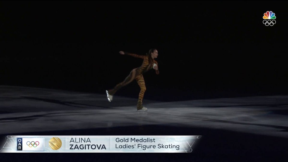 RIGHT NOW: Olympic ladies' gold medalist Alina Zagitova performs in the figure skating gala on @nbc.  Stream here: https://t.co/sMwUM9OX7x