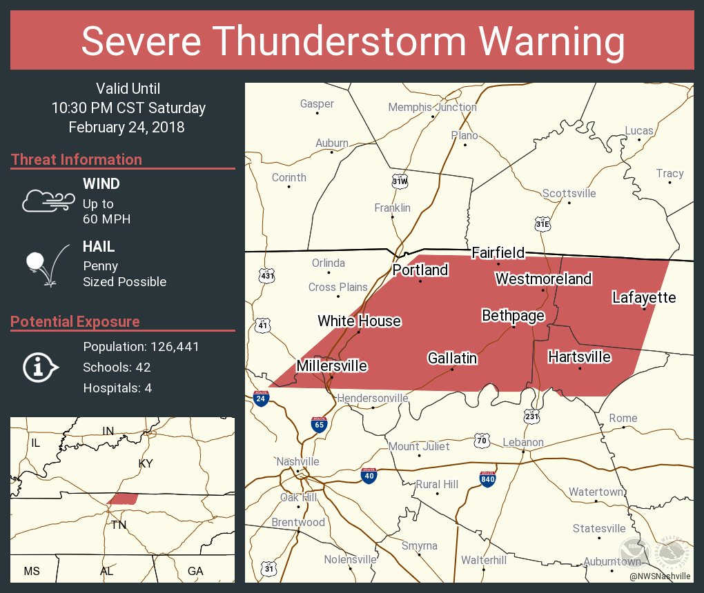 Portland Tennessee Map.Nws Nashville On Twitter Severe Thunderstorm Warning Including