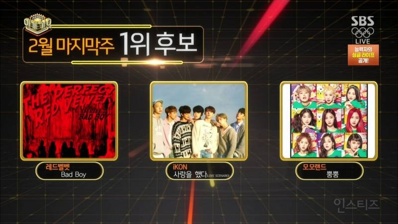 Today's Inkigayo 1st place nominees Red...